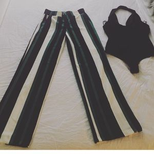 WIDE LEG STRIPED Black,GREEN,WHITE